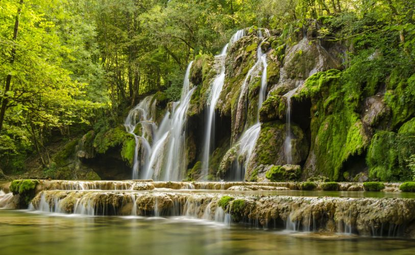 France Waterfalls Franche-Comte Nature wallpaper