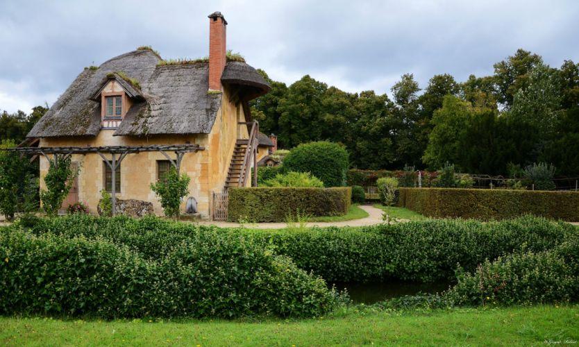 France Houses Parks Le Domaine de Marie Antoinette Village Shrubs Grass Cities wallpaper