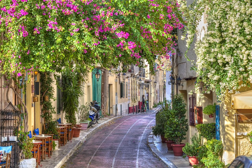 Greece Houses Street Cities wallpaper