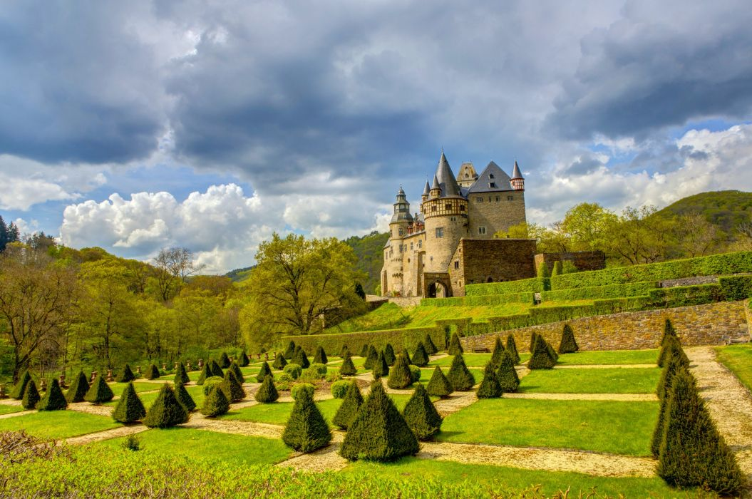 Germany Castles Parks Buerresheim Shrubs Lawn Cities wallpaper