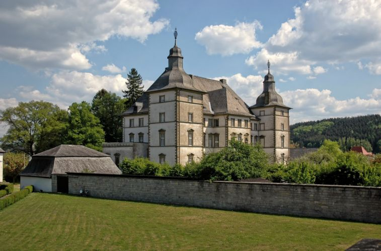 Germany Castles Deutschordensschloss Muelheim Lawn Fence Cities wallpaper