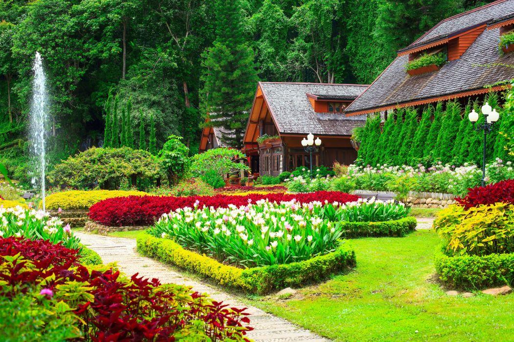 Gardens Tulips Houses Shrubs Grass Nature wallpaper