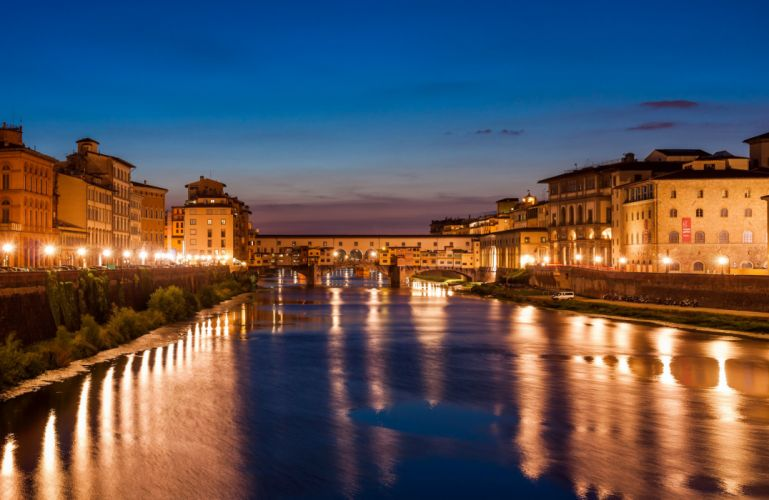 Italy Houses Florence Canal Night Cities wallpaper
