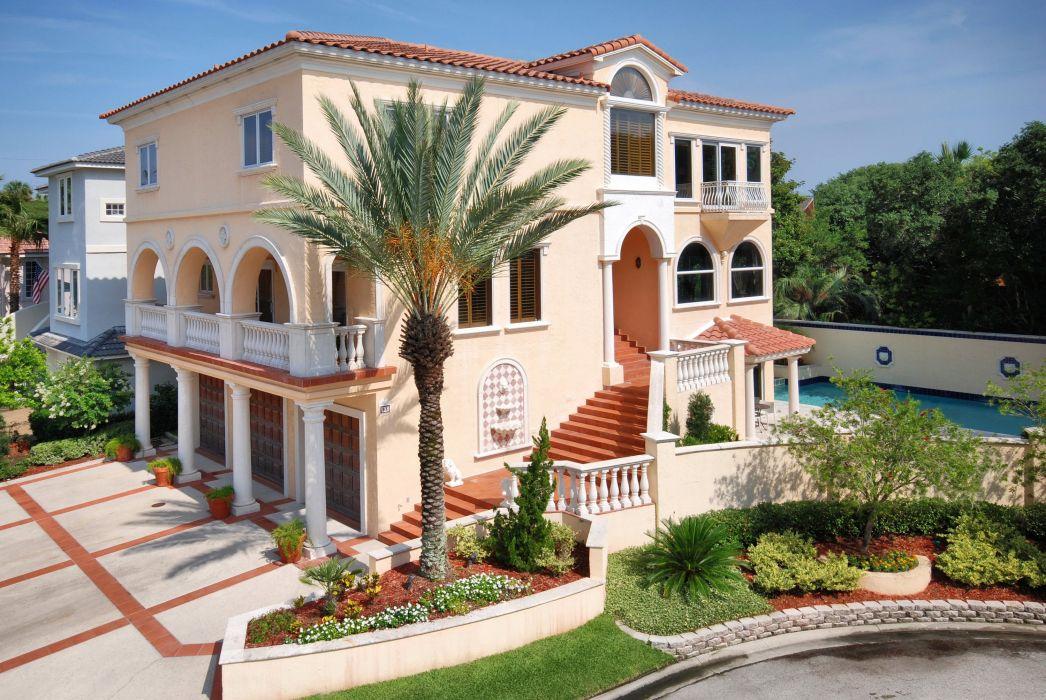 Houses Mansion Shrubs Palma Lawn Cities wallpaper