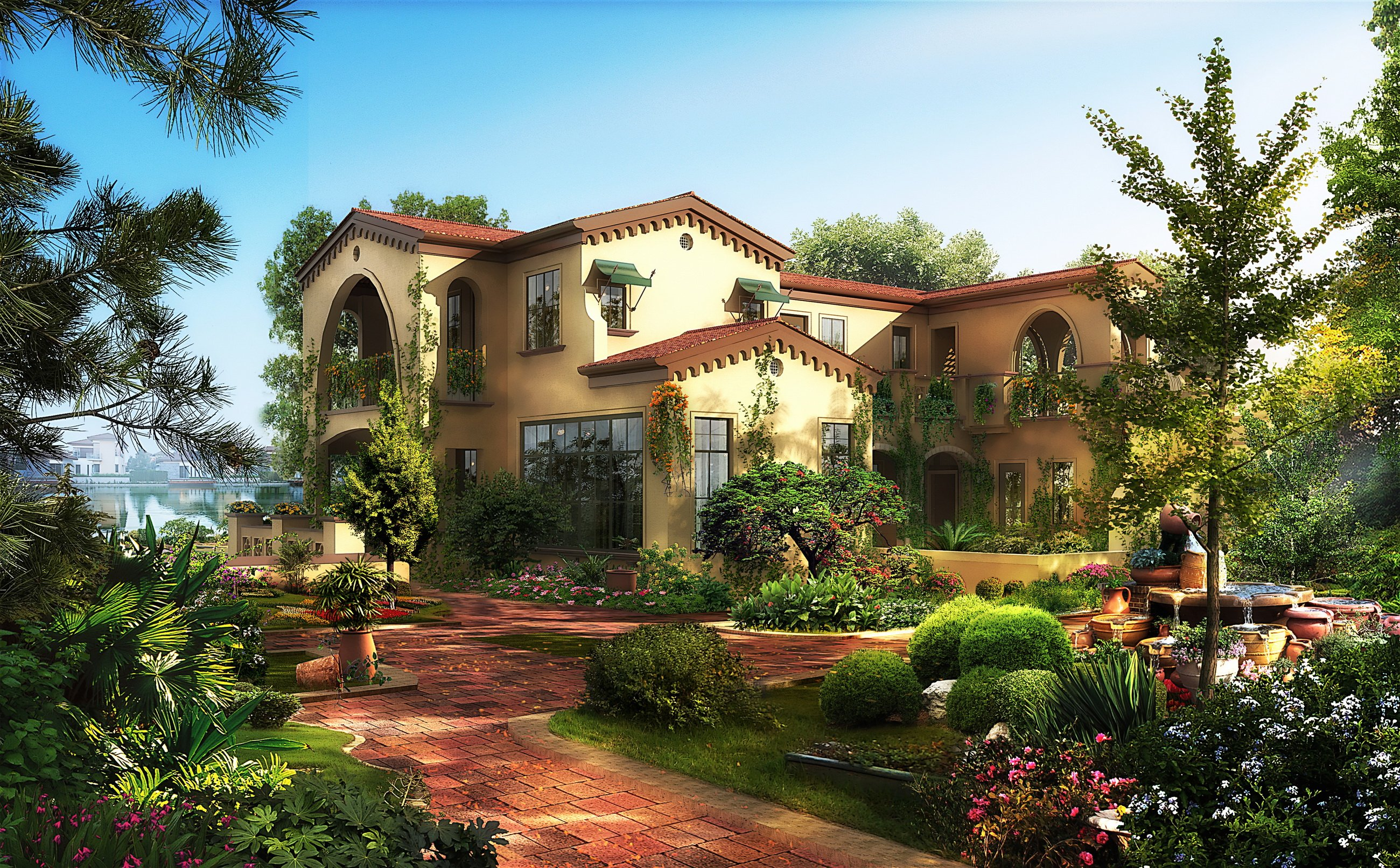 Houses gardens mansion shrubs cities 3d graphics wallpaper for Anvica homes 3d wallpaper