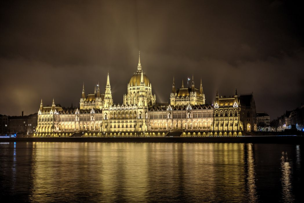 Hungary Houses Rivers Parlament Budapest Night Cities wallpaper