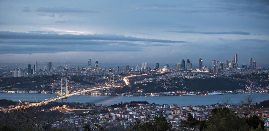 istanbul city sea of marmara night bosphorus bridge turkey wallpaper