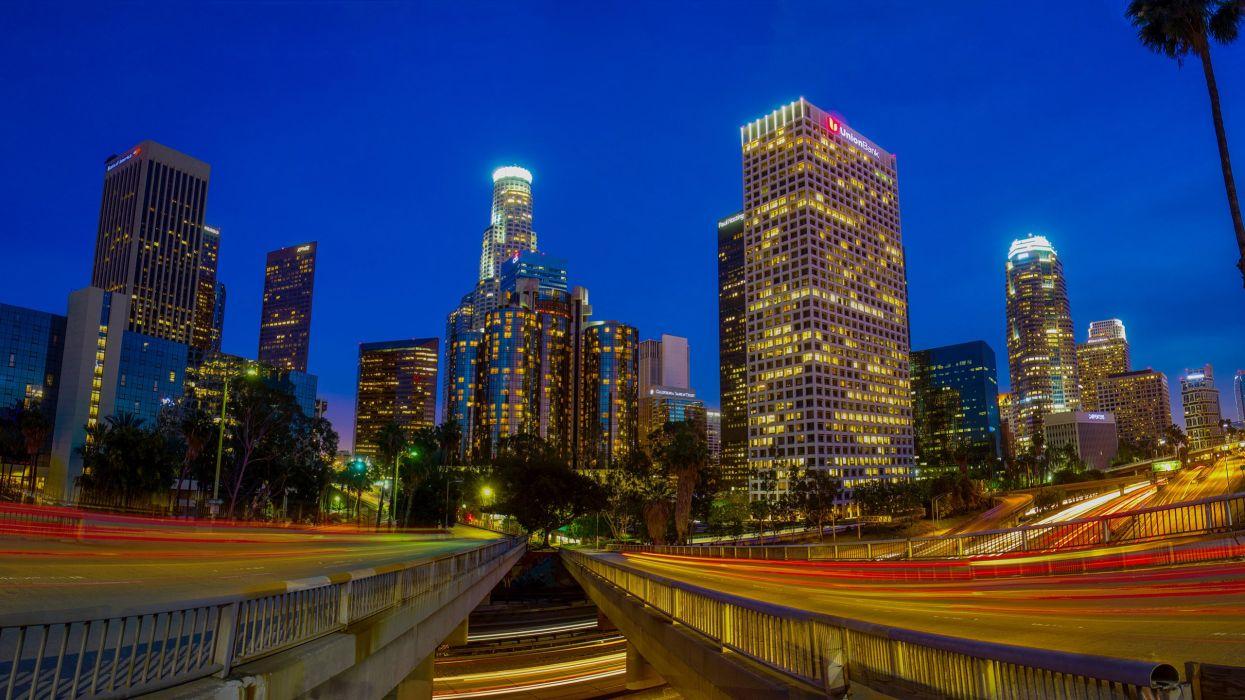 Los Angeles Buildings Skyscrapers Night Lights Timelapse wallpaper