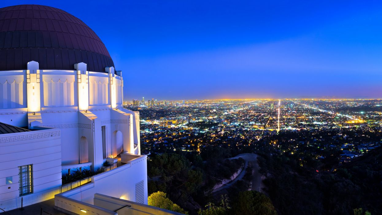 Los Angeles Buildings Skyscrapers Griffith Park Observatory Night Lights  Wallpaper