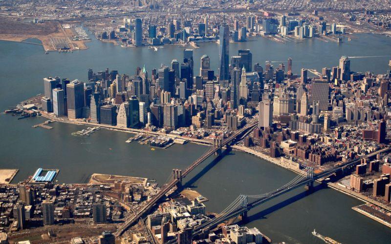 New York Buildings Skyscrapers Manhattan Bridge River wallpaper