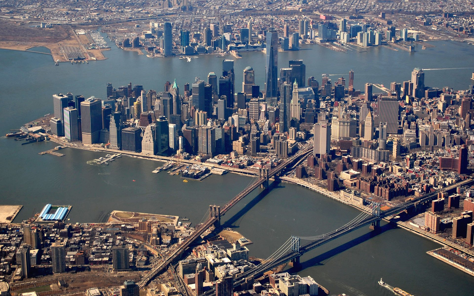 New York Buildings Skyscrapers Manhattan Bridge River