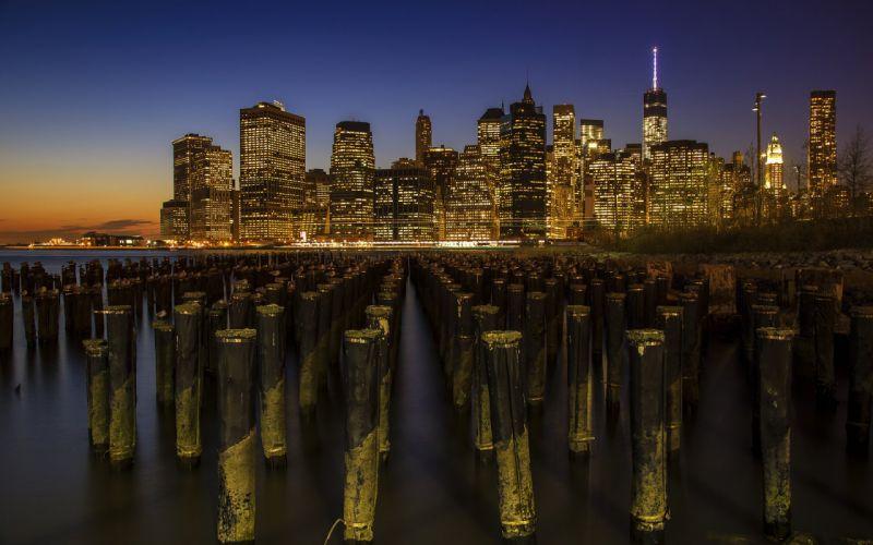 New York Buildings Skyscrapers Night Lights Posts wallpaper
