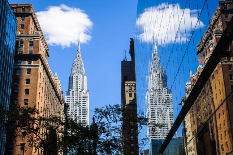 New York Buildings Skyscrapers Reflection wallpaper