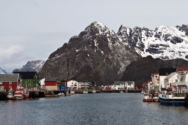 Norway Mountains Rivers Houses Lofoten Islands Cities wallpaper