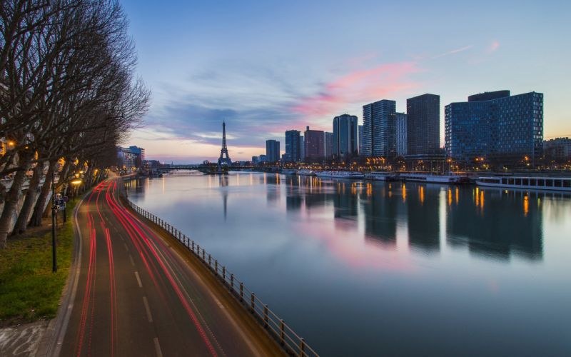 Paris Buildings River Eiffel Tower Tower Timelapse Road Lights Reflection wallpaper