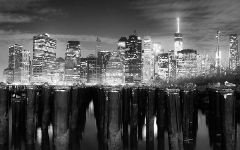New York Buildings Skyscrapers Night Lights BW Posts wallpaper
