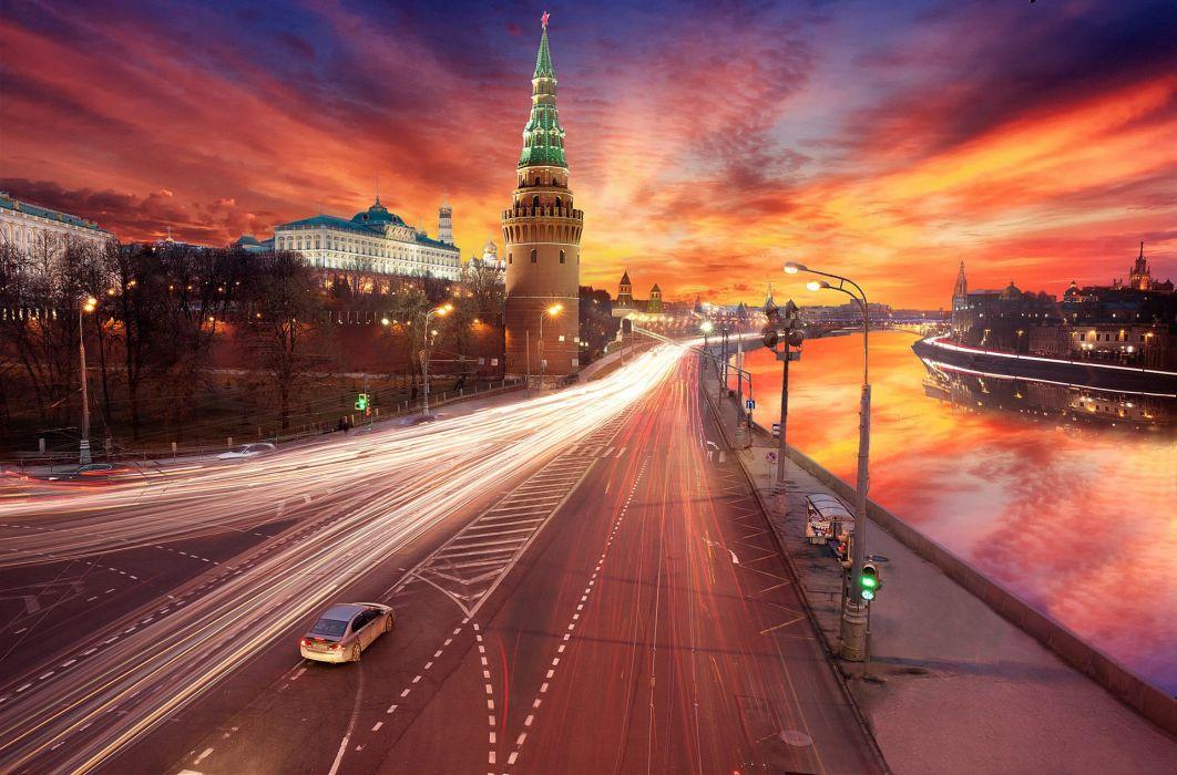 processing moscow sunset kremlin wallpaper