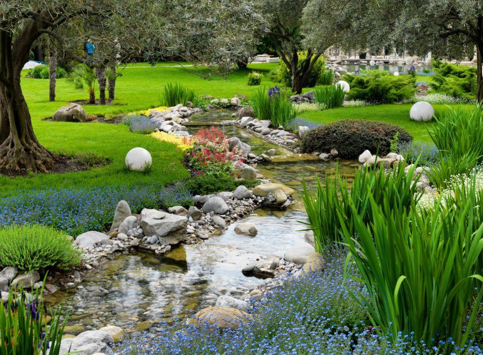 Parks Stones Stream Grass Nature wallpaper
