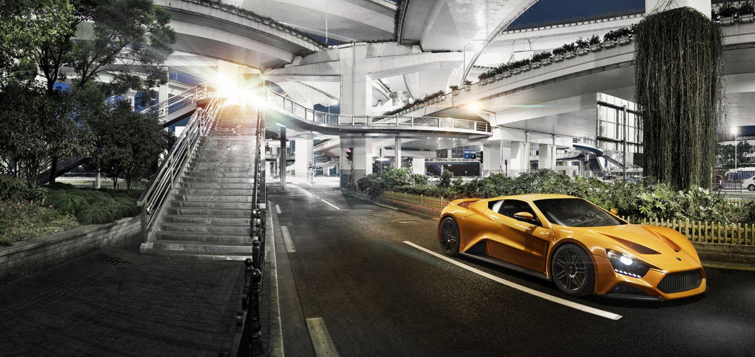 2009 Zenvo ST1 supercar car sports orange city wallpaper