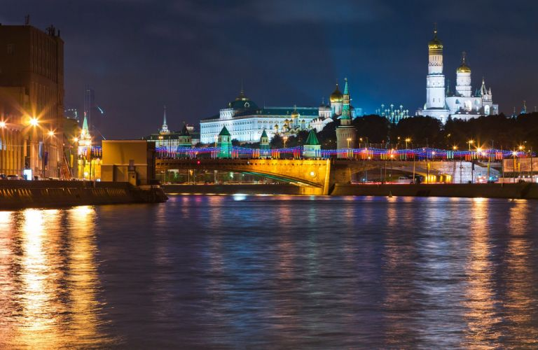 Russia Moscow Rivers Houses Night Cities wallpaper