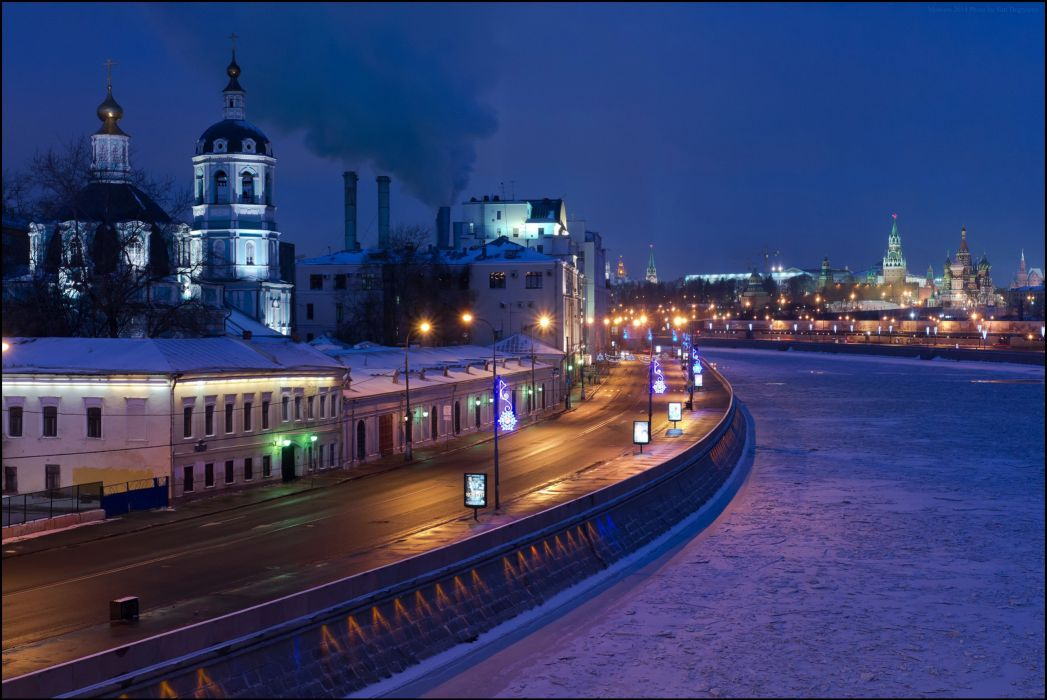 Russia Moscow Houses Roads Night Street lights Cities wallpaper
