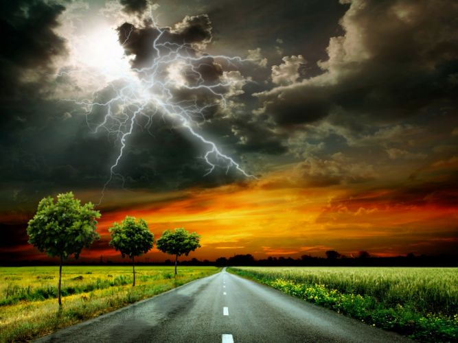 Scenery Roads Sky Grass Clouds Lightning Trees Thundercloud Nature wallpaper