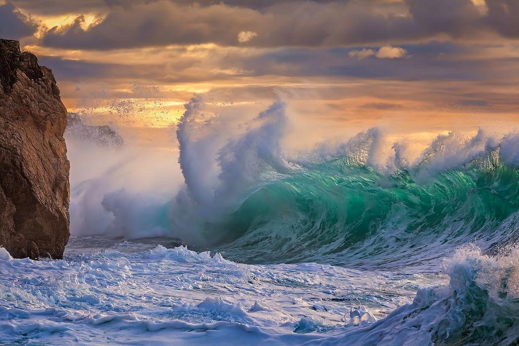 sea ocean storm element water foam rock clouds sunset wallpaper
