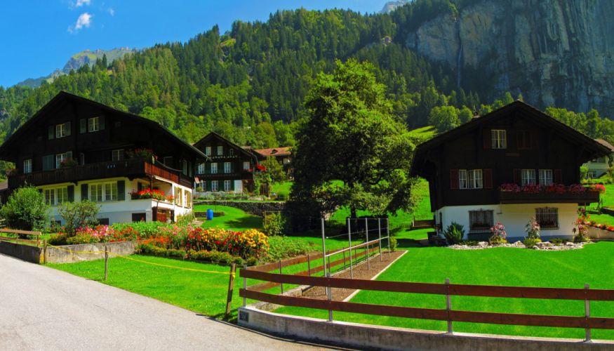 Switzerland Houses Lauterbrunnen Lawn Fence Cities wallpaper