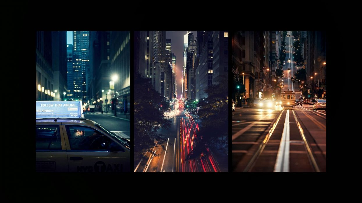 Street Night Taxi Buildings Trolley Lights Timelapse Black wallpaper