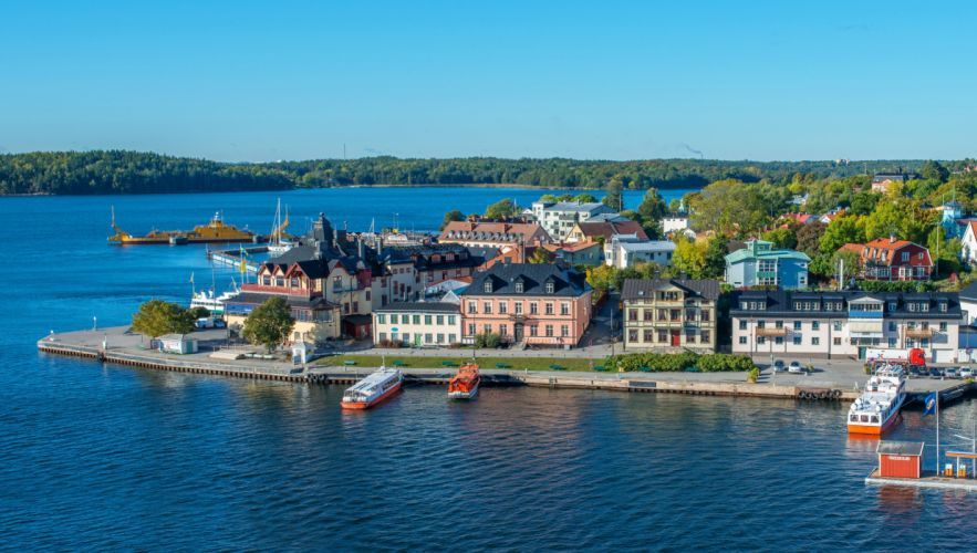 Sweden Houses Rivers Stockholm Vaxholm Cities wallpaper