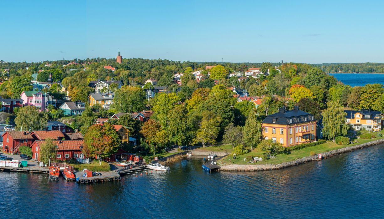Sweden Houses Rivers Stockholm Vaxholm Cities f wallpaper