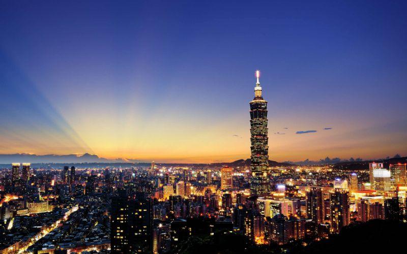 Taiwan China Taipei evening city wallpaper