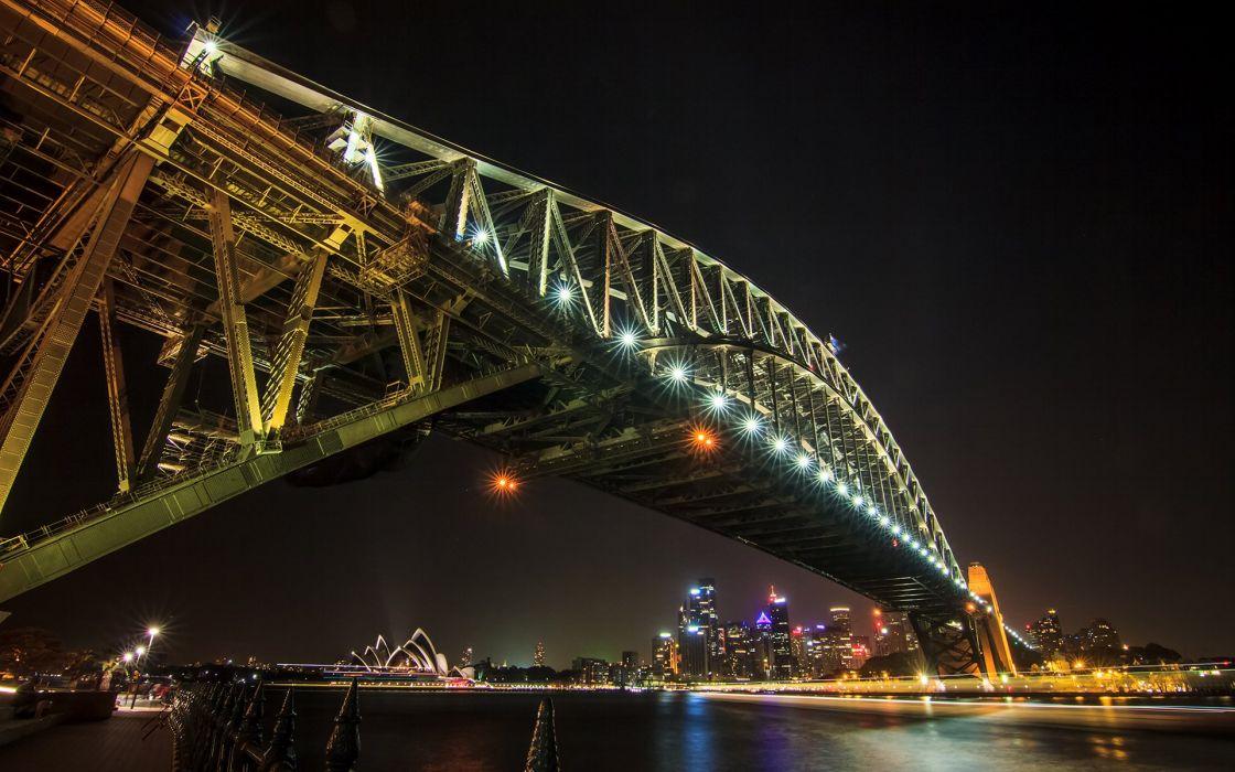 Sydney Bridge Night Lights Buildings Skyscrapers wallpaper