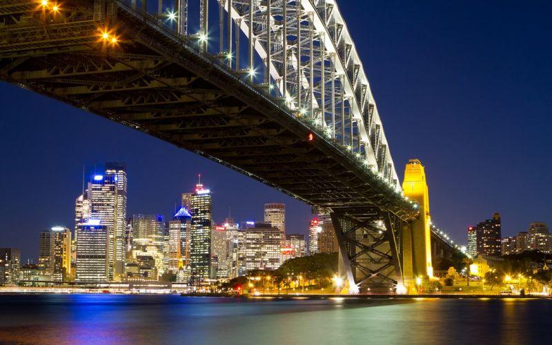 Sydney Bridge Night Lights Buildings Skyscrapers River wallpaper