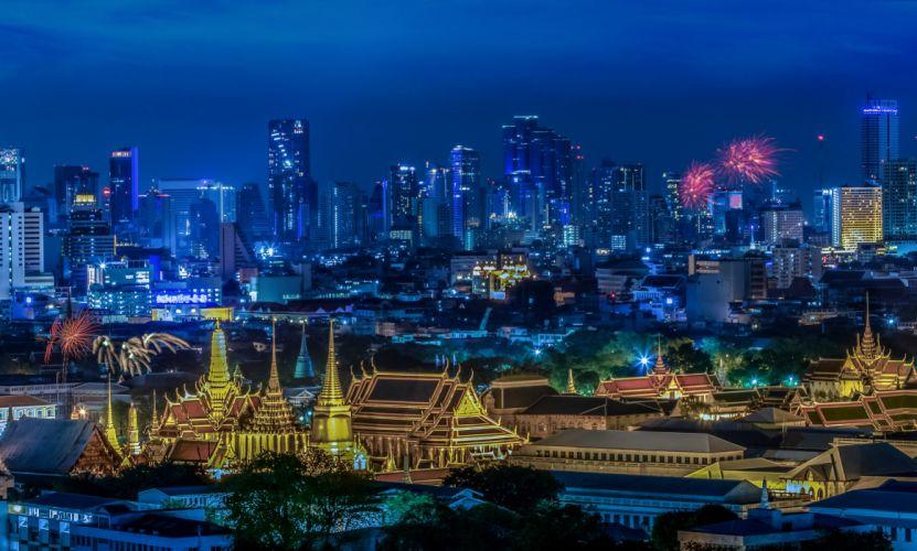 Thailand Skyscrapers Fireworks Bangkok Megapolis Night Cities wallpaper