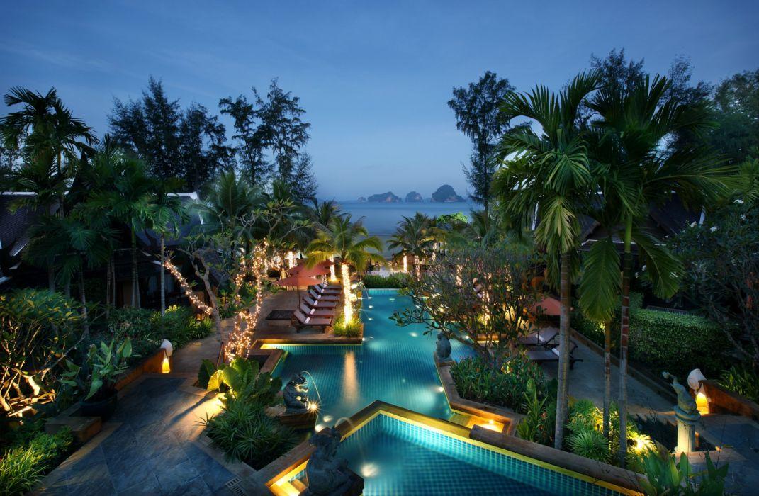 Tropics Resorts Pools Palma Night Nature wallpaper