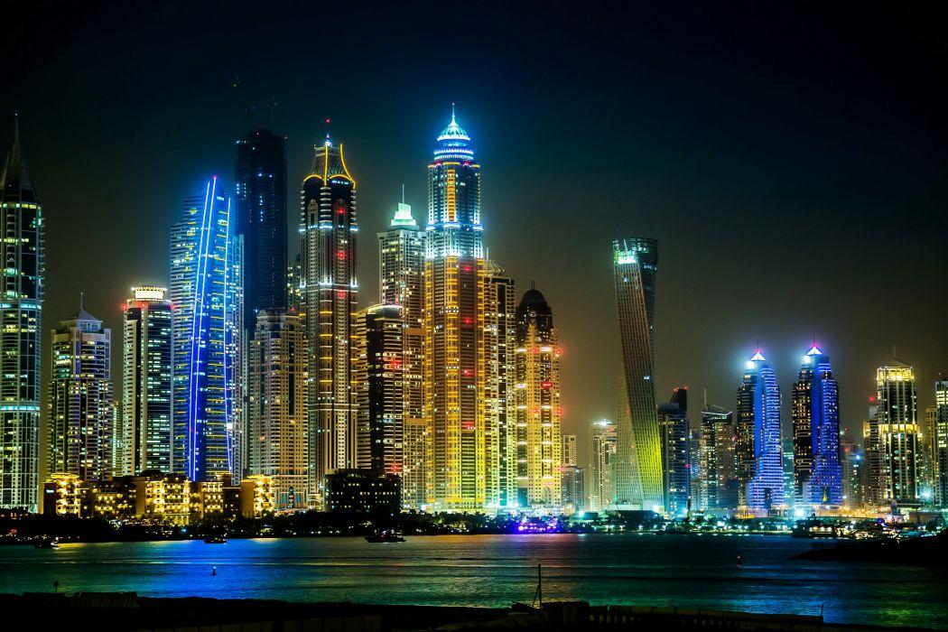 United Arab Emirates Skyscrapers Rivers Houses Dubai Megapolis Night Cities wallpaper