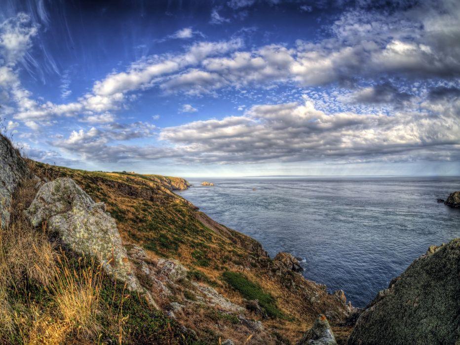 United Kingdom Sea Coast Sky Alderney HDR Clouds Nature wallpaper