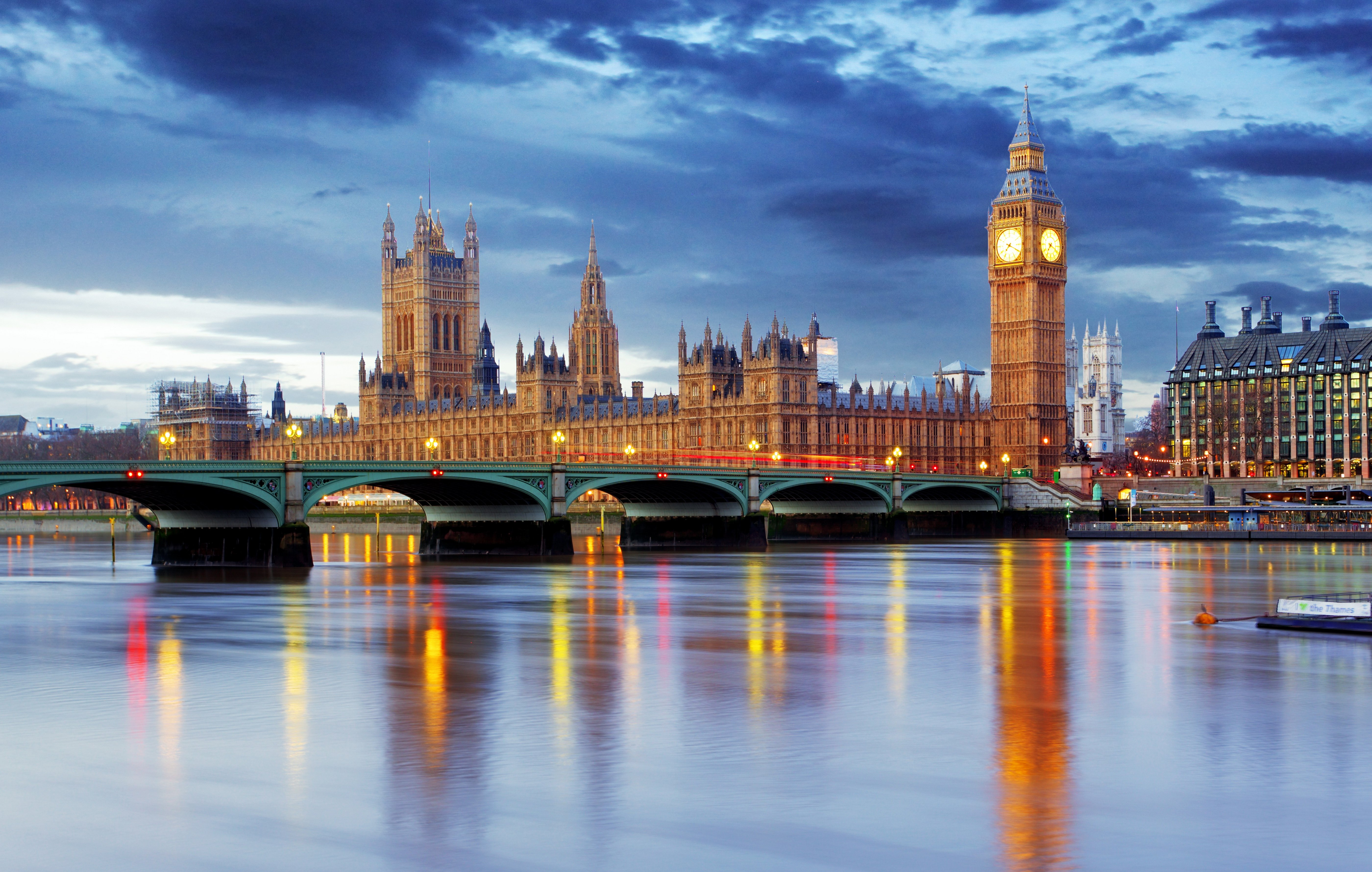 United Kingdom Rivers Bridges Houses Sky London Big Ben ...