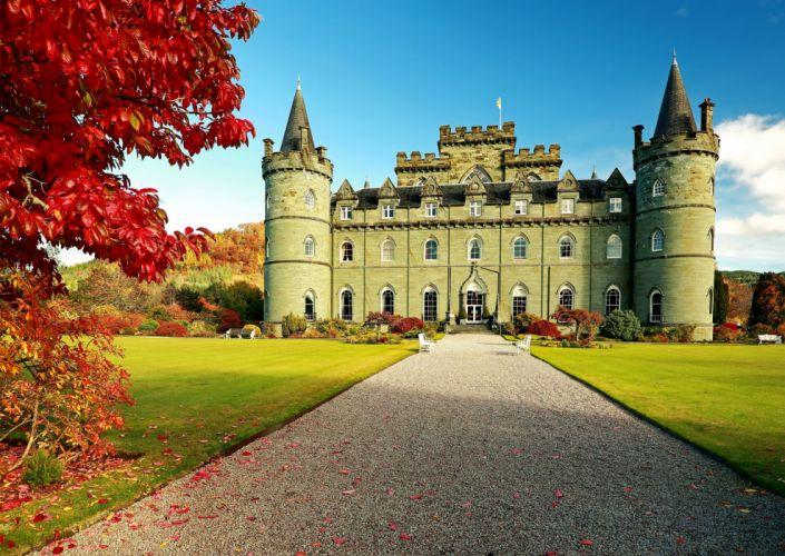 United Kingdom Castles Inveraray Lawn Grass Cities wallpaper