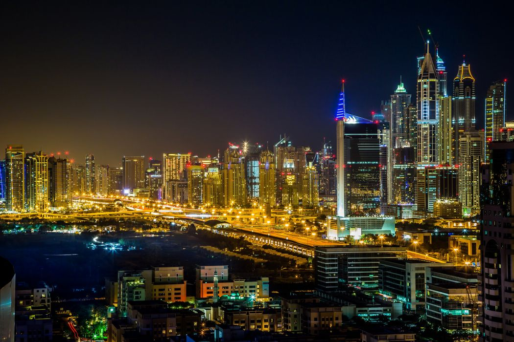 United Arab Emirates Houses Dubai Megapolis Night Cities wallpaper
