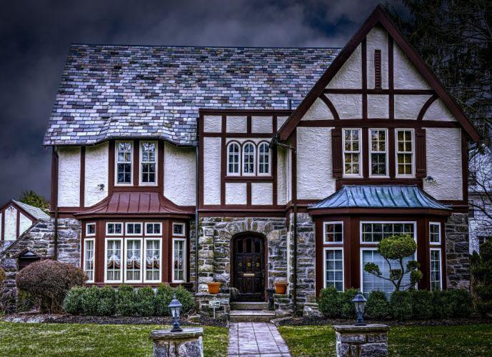 USA Houses Landscape American Tudor Homes Street lights HDR Cities wallpaper