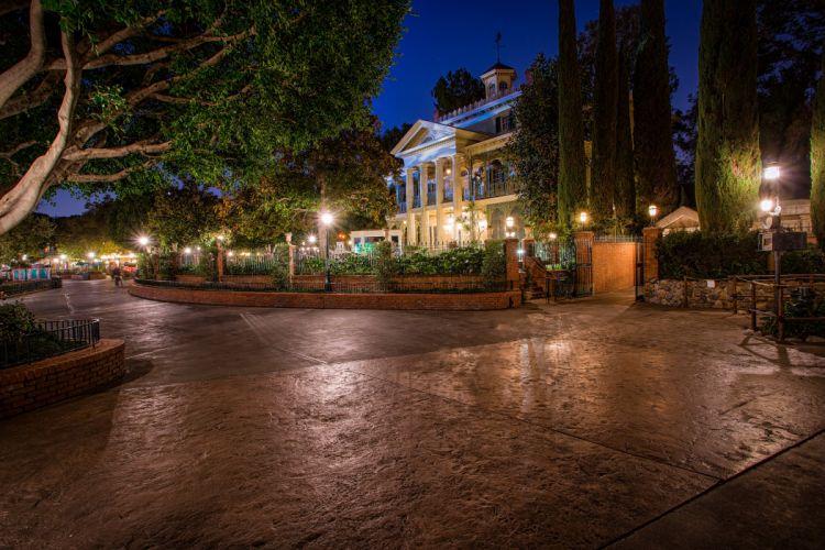 USA Disneyland Parks Houses California Anaheim Design HDR Night Street Street lights Trees Cities wallpaper