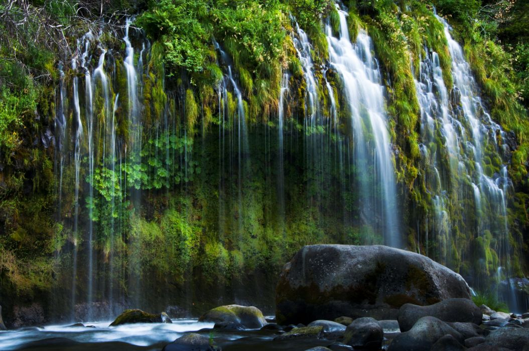 USA Waterfalls Stones Mossbrae Falls California Nature wallpaper