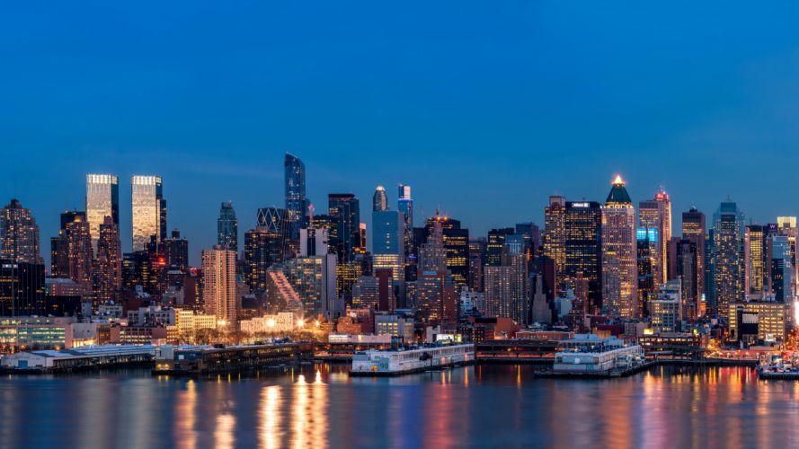 USA Skyscrapers Rivers Marinas New York City Night Megapolis Cities wallpaper