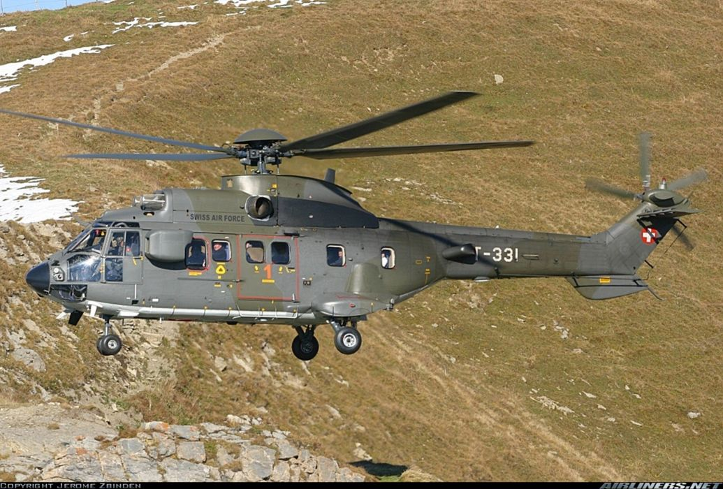 helicopter aircraft super puma transport military swiss air force Switzerland wallpaper