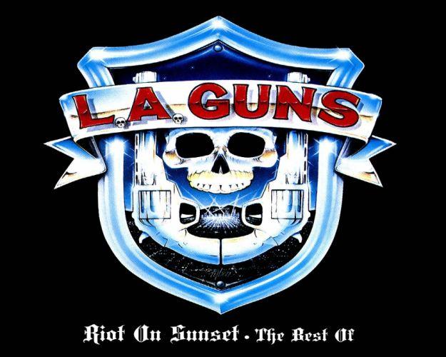 LA-GUNS hair metal heavy guns poster weapon skull dark wallpaper
