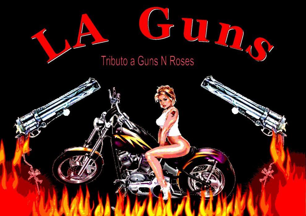 LA-GUNS hair metal heavy guns poster weapon fire sexy babe wallpaper