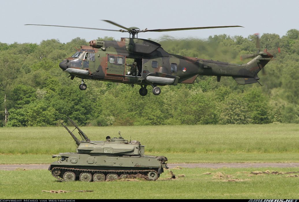helicopter aircraft attack military army super puma transport troops Czech-Republic ZSU-23-4 chaika anti-aircraft howtizer  wallpaper
