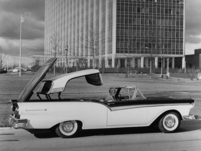 1957 Ford Fairlane 500 Skyliner Retractable Hardtop convertible retro luxury g wallpaper